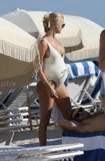 Pregnant VITA SIDORKINA in Swimsuit on Miami Beach 10/14/2018