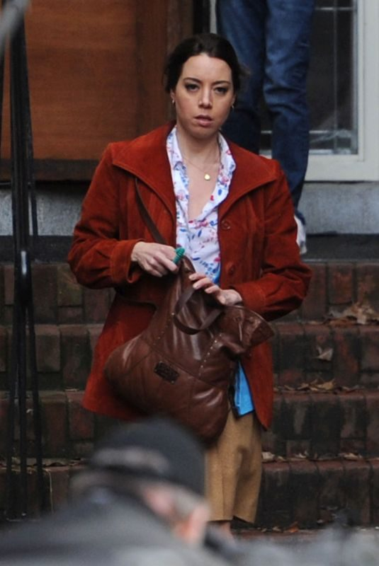 AUBREY PLAZA on the Set of Chucky in Vancouver 11/03/2018
