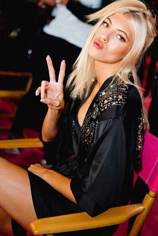DEVON WINDSOR on the Backstage of Victoria's Secret Fashion Show in New York 11/08/2018