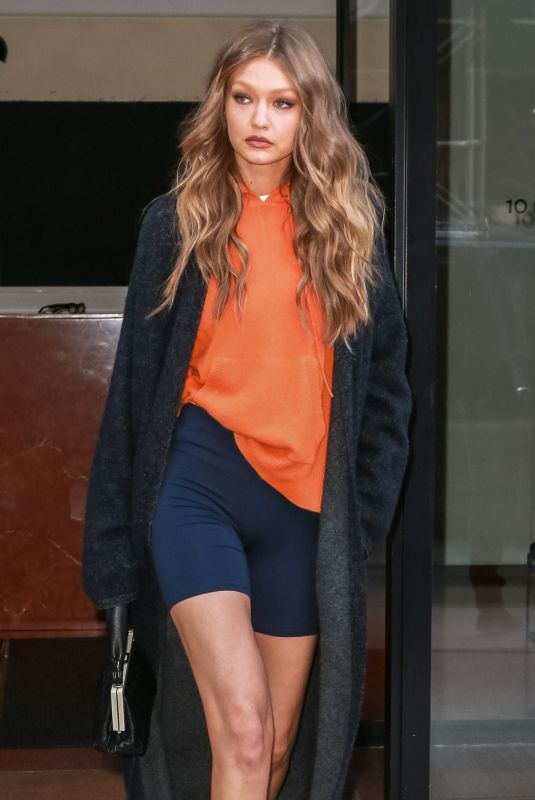 GIGI HADID Leaves Her Apartment in New York 11/07/2018