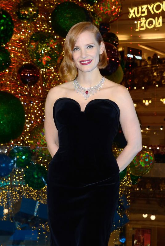 JESSICA CHASTAIN at Les Galeries Lafayette Christmas Decorations Inauguration in Paris 11/07/2018
