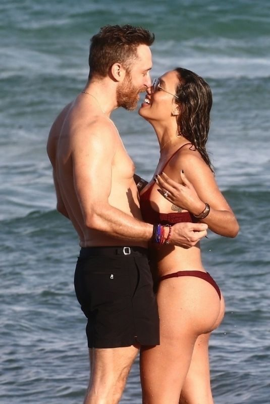 JESSICA LEDON in Bikini and David Guetta on the Beach  in Miami 11/23/2018