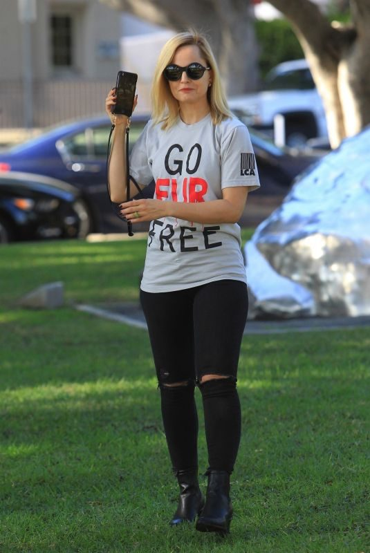 MENA SUVARI at Anti-fur Protest in Beverly Hills 11/23/2018