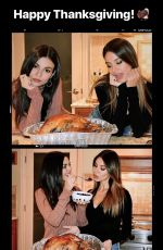 VICTORIA JUSTICE and MADISON REED on Thanksgiving Day, Instagram Pictures