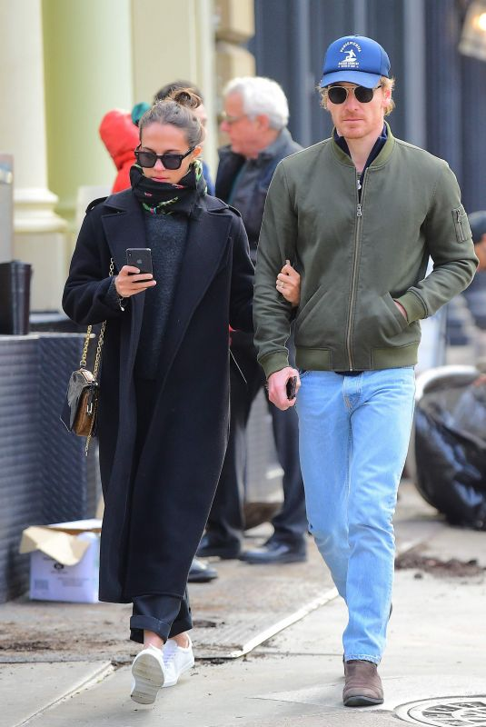 ALICIA VIKANDER and Michael Fassbender Out and About in New York 12/19/2018