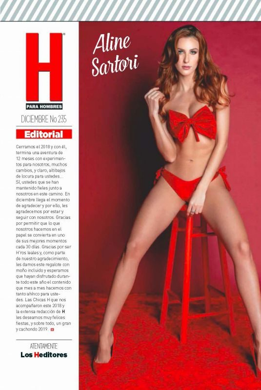 ALINE SARTORI in H Para Hombres Magazine, Mexico December 2018