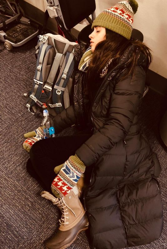 CAMILA CABELLO Sleeping at Airport - Instagram Picture, December 2018
