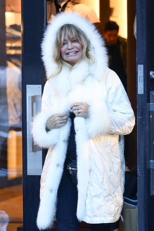 GOLDIE HAWN Out Shopping in Aspen 12/23/2018