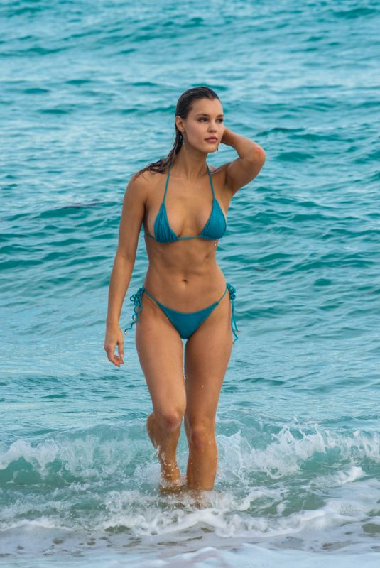 JOY CORRIGAN in Bikini at a Beach in Miami 12/09/2018