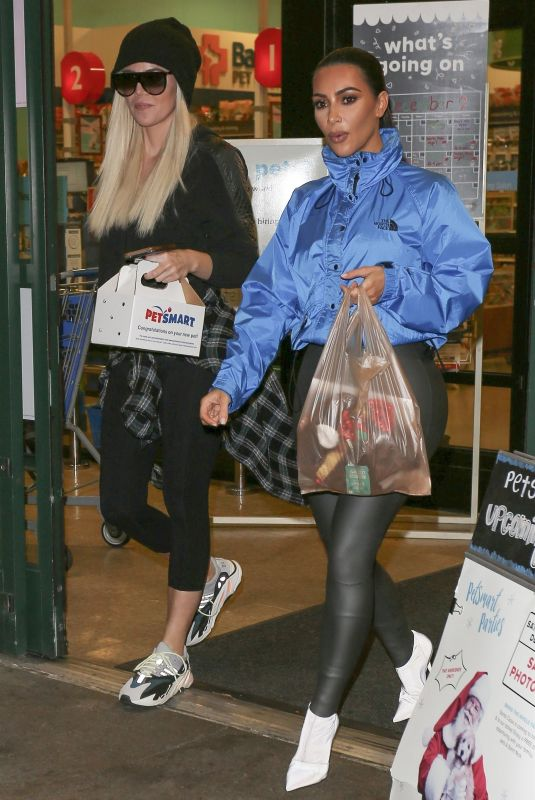 KIM and KHLOE KARDASHIAN Shopping at PetSmart Store in Woodland Hills 12/12/2018