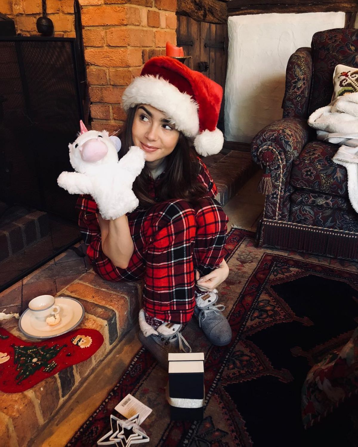 LILY COLLINS – Christmas Instagram Pictures – HawtCelebs