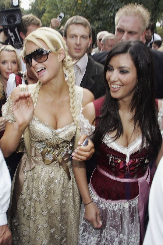 PARIS HILTON and KIM KARDASHIAN at Octoberfest in Germany 09/25/2006
