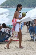 ALESSANDRA AMBROSIO in White Bikini at a Beach in Santa Catarina 01/03/2019