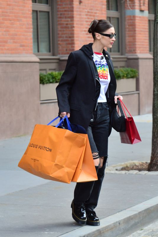 BELLA HADID Shopping at Louis Vuitton in New York 01/09/2019