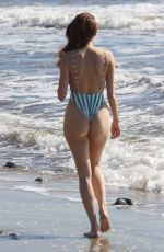 BLANCA BLANCO in Striped Swimsuit on the Beach in Malibu 01/21/2019