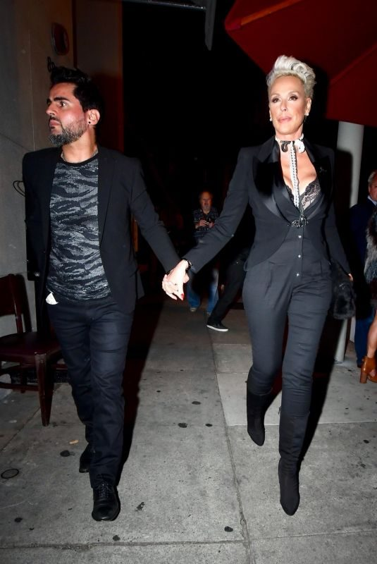BRIGITTE NIELSEN and Mattia Dessi at Craig's Restaurant in West Hollywood 01/23/2019