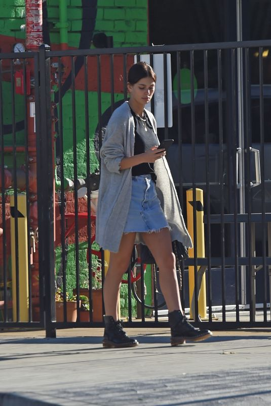 CAMILA MORRONE in Denim Skirt Out in Los Angeles 01/21/2019