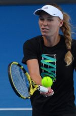 CAROLINE WOZNIACKI at 2019 Australian Open Practice Session at Melbourne Park 01/13/2019