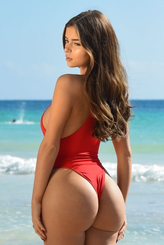 DEMI ROSE MAWBY in Red Swimsuit at a Beach in Mexico 01/24/2019
