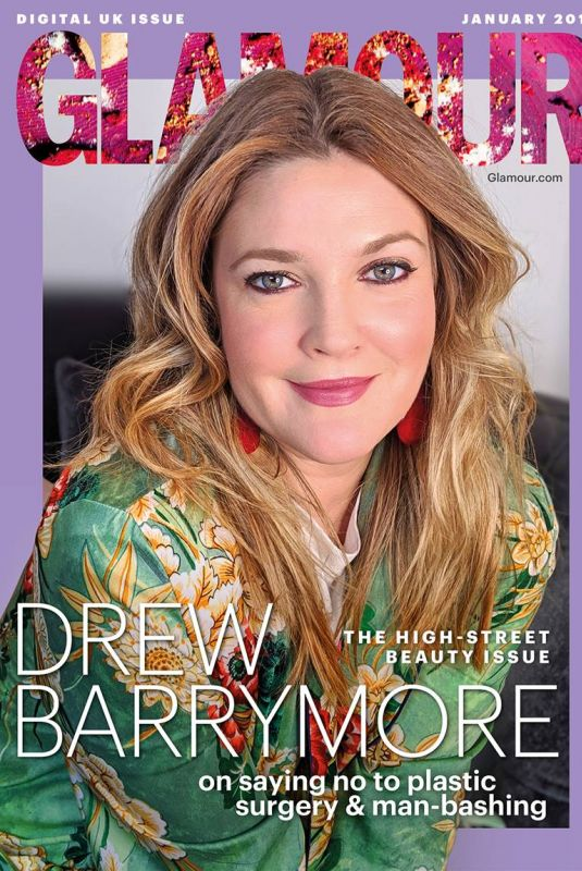 DREW BARRYMORE in Glamour Magazine, UK January 2019