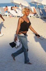 ELISA JOHNSON in Low Cut Baggy Jeans at a Beach in Miami 12/30/2018