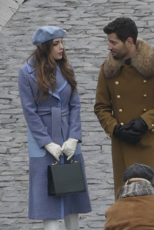 ELIZABETH GILLIES on the Set of Dynasty in Paris 01/07/2019
