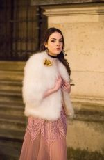 ELIZABETH GILLIES on the Set of Dynasty, Season 2 in Paris 01/11/2019