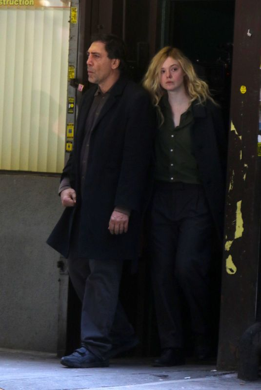 ELLE FANNING and Javier Bardem on the Set of Sally Potter