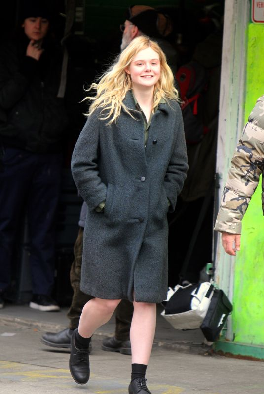 ELLE FANNING on the Set of Molly in New York 01/17/2019