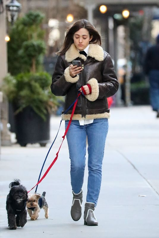 EMMY ROSSUM Out with Her Dogs in New York 01/24/2019