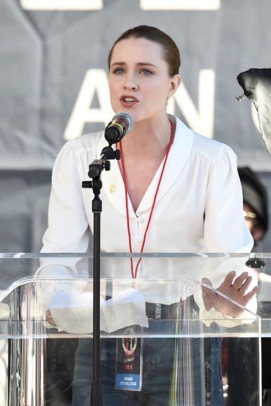 EVAN RACHEL WOOD at Women's March in Los Angeles 01/19/2019