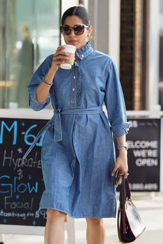 FREIDA PINTO in a Denim Dress Out in Los Angeles 01/11/2019