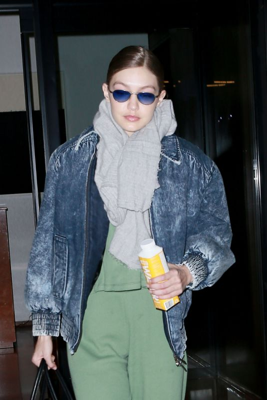 GIGI HADID Arrives at Her Apartment in New York 01/11/2019