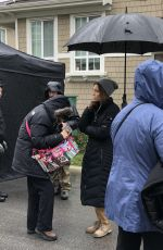JESSICA BIEL on the Set Facebook Watch Series Limetown in Vancouver 01/24/2019