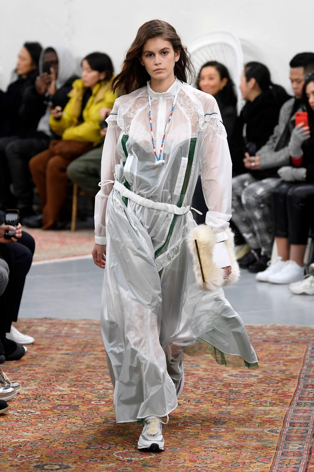 KAIA GERBER at Sacai Runway Show at Paris Fashion Week 01/19/2019