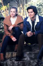 LILI REINHART and Cole Sprouse on the Set of Riverdale in Vancouver 01/16/2019