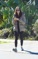LILY COLLINS Leaves a Gym in Los Angeles 01/10/2019