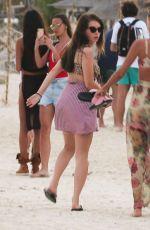 LOTTIE MOSS in Bikini Top on the Beach in Tulum 01/13/2019