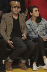 MILA KUNIS and Ashton Kutcher at LA Lakers vs Philadelphia 76
