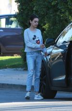 MILA KUNIS in a Mickey Mouse Sweater Out in Los Angeles 01/24/2019