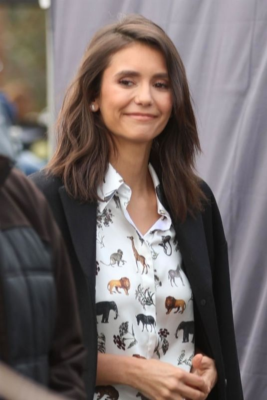 NINA DOBREV on the Set of Extra in Universal City 01/15/2019
