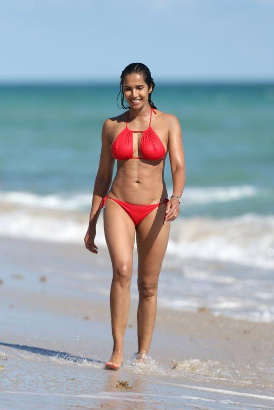 PADMA LAKSHMI in Red Bikini at a Beach in Miami 01/07/2019