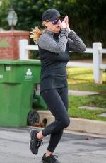 REESE WITHERSPOON Out Jogging in Brentwood 01/08/2019