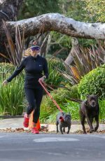 REESE WITHERSPOON Out Jogging with Her Dogs in Santa Monica 01/13/2019