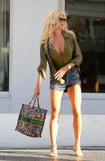VICTORIA SILVSTEDT in Denim Shorts Out Shopping in Miami 01/17/2019