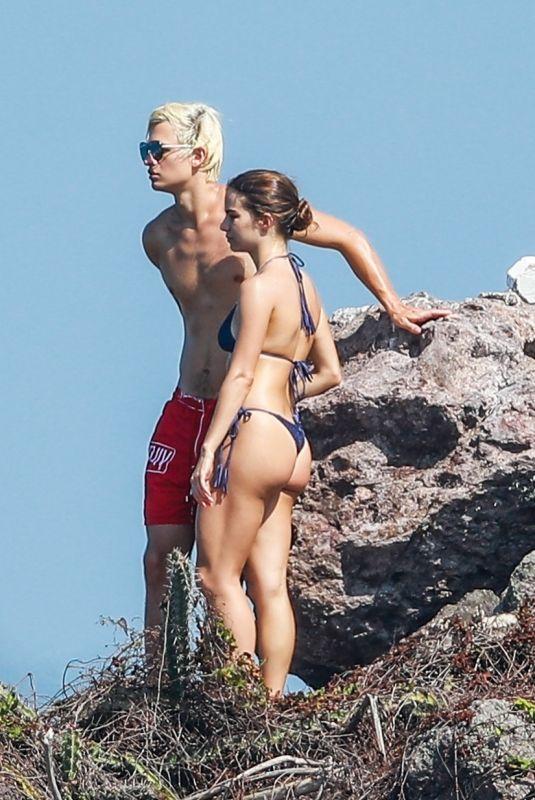 VIOLETTA KOMYSHAN in Bikini and Ansel Elgort at a Beach in Punta Mita 01/20/2019
