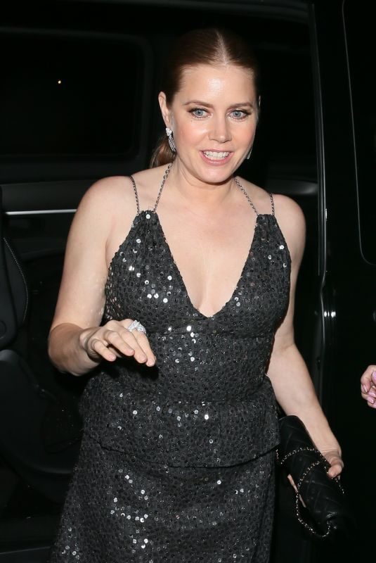 AMY ADAMS Arrives at British Vogue Fashion and Film Bafta Party 02/10/2019