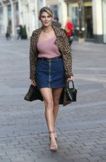 ASHLEY JAMES in Denim Skirt Out in London 02/07/2019