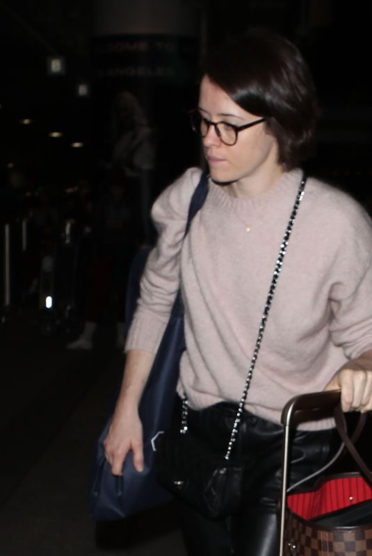 CLAIRE FOY at LAX Airport in Los Angeles 02/04/2019