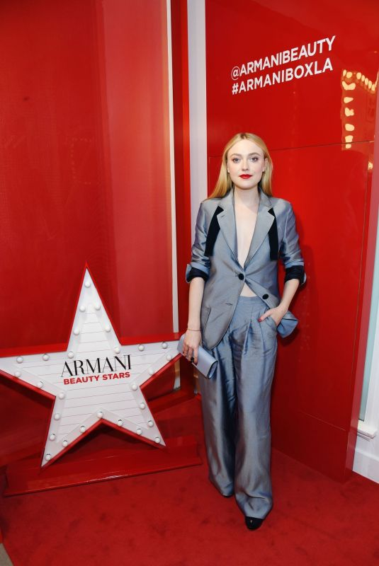 DAKOTA FANNING at Armani Box Pop-up Store Opening in West Hollywood 02/06/2019